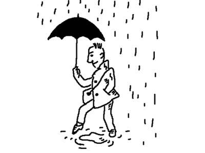 """""""下雨的时候,我很高兴有先见之明,撑着雨伞"""
