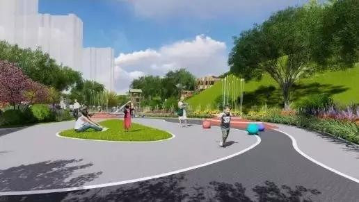 场地铺装运用透水混凝土等材质     园区内设计多种儿童游乐,健身运动